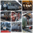 Old atrain collage - Stock Photo