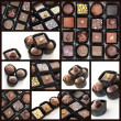 Chocolate pralines collage — Stock fotografie