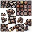 Chocolate pralines collage — Stock Photo