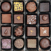 Box of various chocolate pralines — Stock Photo