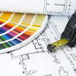 Blueprints and color swatch — Stock Photo