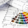 Stock Photo: Blueprints and color guide