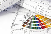 Blueprints and color guide — Stockfoto