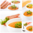 Carrots soup collage — Stock Photo