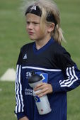 Young football girl from hamburger sport club (HSV) — Stock Photo