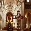 Nave of the Cathedral Notre Dame in Lausanne, viewed from the back of the church. Switzerland. — Stock Photo