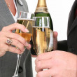 Close-up Business Couple Pouring Champagne - 图库照片