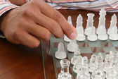 African American Male Hand with Chess Set — Stock Photo