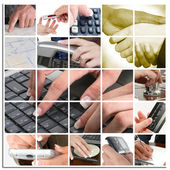 Business Hand Collage — Stock Photo