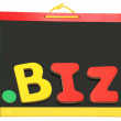 Top Level Domain Dot BIZ On Chalkboard - Stock Photo