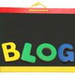Blog Spelled Out On Chalkboard - Foto Stock