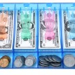 Stock Photo: Cash Draw Of Toy Paper And Coin Money USD