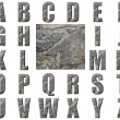 Natural Grey Stone Texture Alphabet — Stock Photo