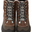 Woman's Waterproof Snow Boots Over White - ストック写真