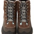 Woman's Waterproof Snow Boots Over White - Lizenzfreies Foto