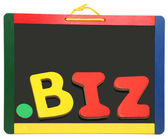 Top Level Domain Dot BIZ On Chalkboard — Stockfoto