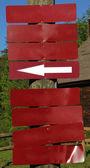 Blank Red Signs on Wooden Post — Stock Photo
