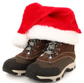 Snow Boots with Santa Hat — Stock Photo