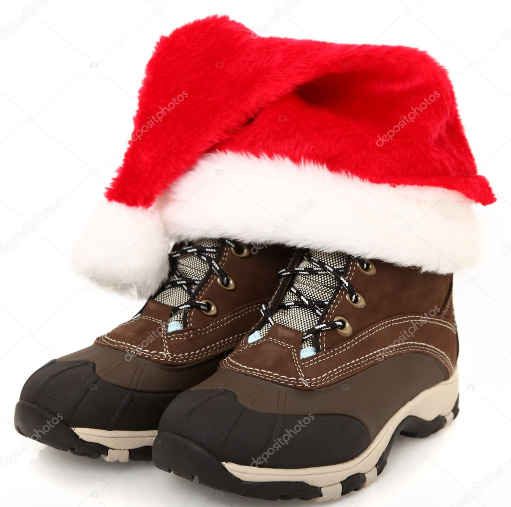 Woman's tie up (lace up) weather proof snow boots with santa hat. — Stock Photo #12785148