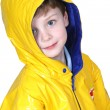 Adorable Four Year Old Boy in Rain Coat — Zdjęcie stockowe #12799106