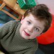 Attractive Four Year Old Boy with Blond Hair Blue Eyes — Stock fotografie #12799120