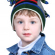 Adorable Boy in Crazy Winter Hat — Stock Photo