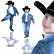 Cowboy Trio Four Year Old Boy — Foto Stock
