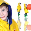 Collage of Boy In Yellow Raincoat And Froggie Boots - Stock Photo