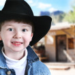 Happy Cowboy in Old West - Stockfoto
