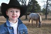 Rozkošný čtyři roky starý kovboj — Stock fotografie