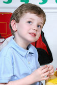 Adorable Four Year Old Boy At Preschool — Zdjęcie stockowe