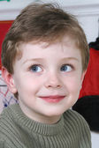 Adorable Four Year Old Boy with Big Blue Eyes — Foto de Stock