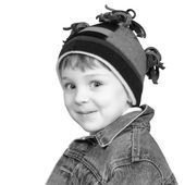 Adorable Boy in Winter Hat in Black and White — Stockfoto