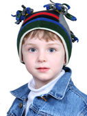 Adorable Boy in Crazy Winter Hat — 图库照片