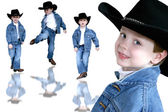 Cowboy trio fyra-årig pojke — Stockfoto