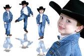 Menino de quatro anos de trio de vaqueiro — Foto Stock