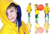 Collage of Boy In Yellow Raincoat And Froggie Boots — Стоковое фото