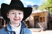 Happy Cowboy in Old West — Stok fotoğraf