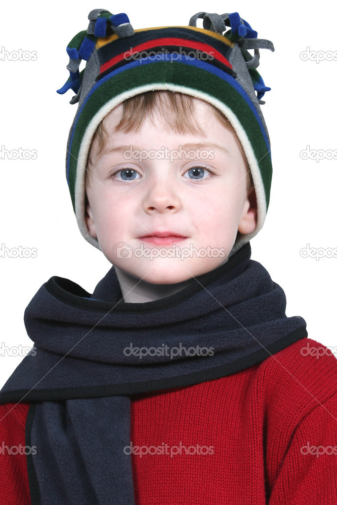 Four year old boy in crazy looking winter cap and a red sweater.  Shot with the Canon 20D. — Stock Photo #12799242
