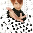 Business Woman Hand Puzzle — ストック写真
