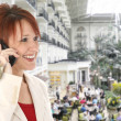 Woman on Cellphone at Opryland Hotel - Zdjęcie stockowe