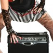 Rocker Chick with Guitar Amp - Stok fotoğraf