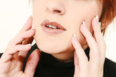 Manicured Hands on Face — Stock Photo