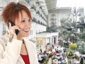 Woman on Cellphone at Opryland Hotel — Stock Photo