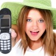 Stock Photo: Happy Teen Girl In Green Hat With Cellphone