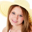 Beautiful Smiling Teen In Yellow Hat Over White — Stock Photo #12819948