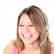 Beautiful Teen Girl With Headset Over White — Stock Photo #12819953