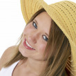 Beautiful Smiling Teen In Yellow Hat Over White — Stock Photo #12819957