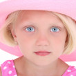Foto Stock: Beautiful Little Girl In Pink Swim Suit And Large Hat