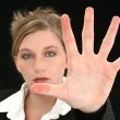 Beautiful Business Woman with Hand Palm Out in Front of Her - Stockfoto